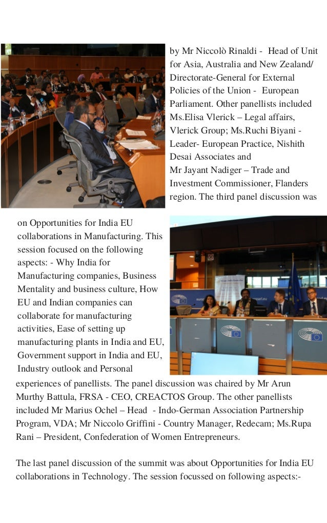 on Opportunities for India EU collaborations in Manufacturing. This session focused on the following aspects: - Why India ...