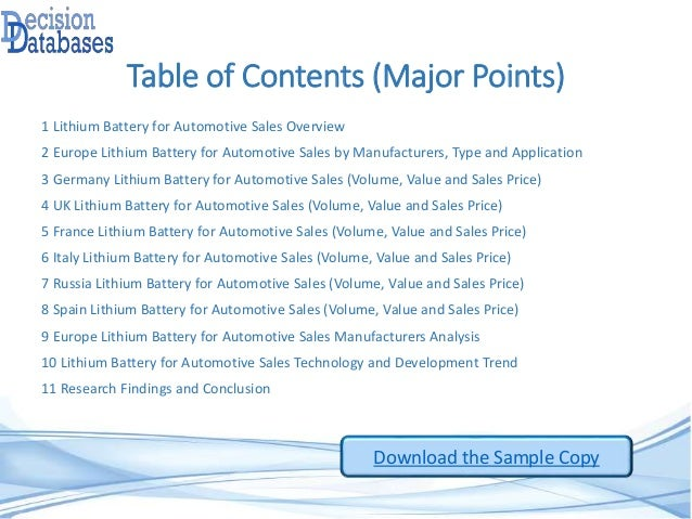 Table of Contents (Major Points) 1 Lithium Battery for Automotive Sales Overview 2 Europe Lithium Battery for Automotive S...