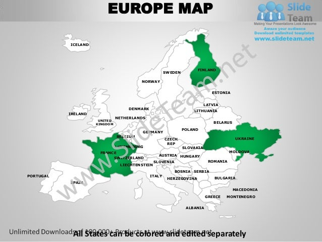 Europe powerpoint editable continent map with countries