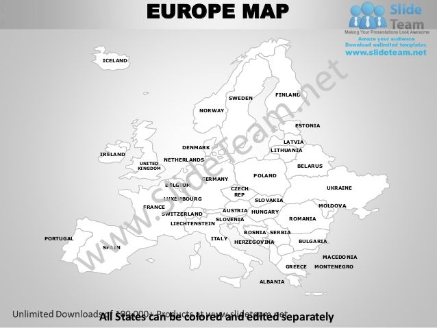 Europe powerpoint editable continent map with countries templates sli…