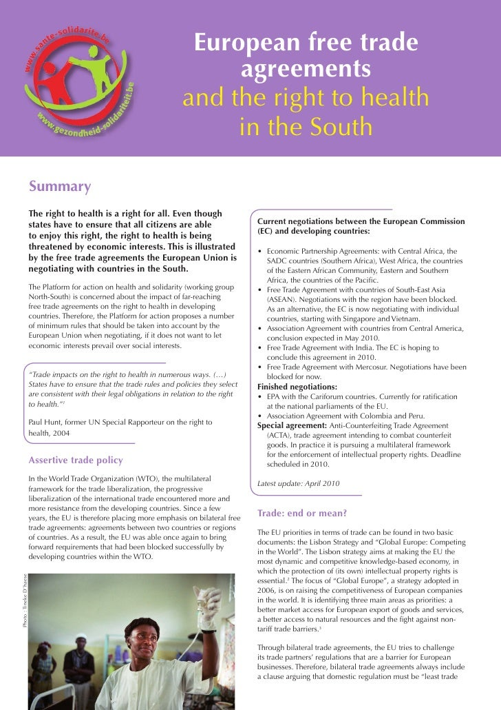 European Free Trade Agreements And The Right To Health In The South