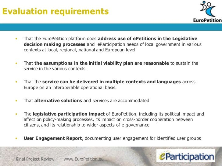 Euro petition review evaluation Slide 2