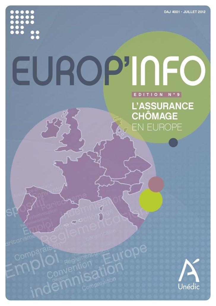 DAJ 4001 • JUILLET 2012EUROP'INFO      E D I T I O N     N ° 9      L'ASSURANCE      CHÔMAGE      EN EUROPE