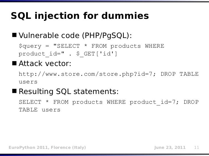 SQL injection for dummies Vulnerable