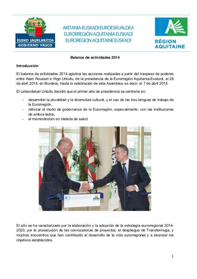 In E e d E E 2 m o ntroducció El balance d entre Alain R de abril 2014 El Lehendak - desa la Eu - refor de a - el me El añ...