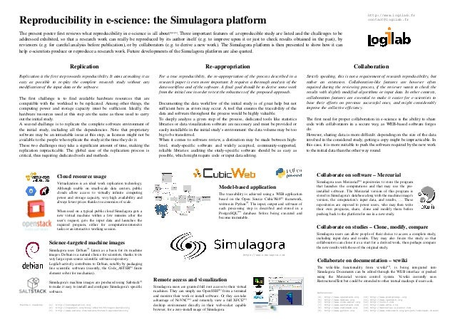 Reproducibility in e­science:  the Simulagora platform  The present poster first reviews what reproducibility in e­science...