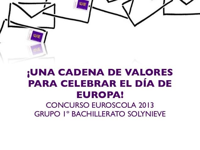 ¡UNA CADENA DE VALORESPARA CELEBRAR EL DÍA DEEUROPA!CONCURSO EUROSCOLA 2013GRUPO 1º BACHILLERATO SOLYNIEVE