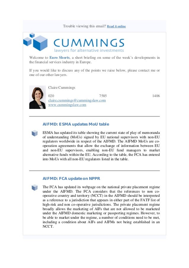Trouble viewing this email? Read it online  Welcome to Euro Shorts, a short briefing on some of the week's developments in...