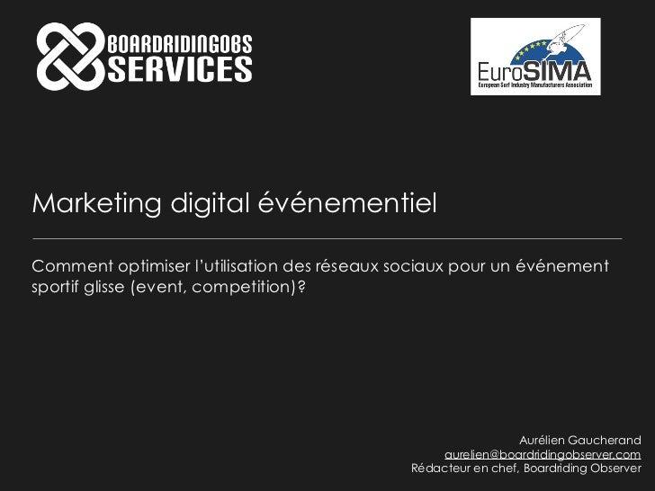 Marketing digital événementielComment optimiser l'utilisation des réseaux sociaux pour un événementsportif glisse (event, ...