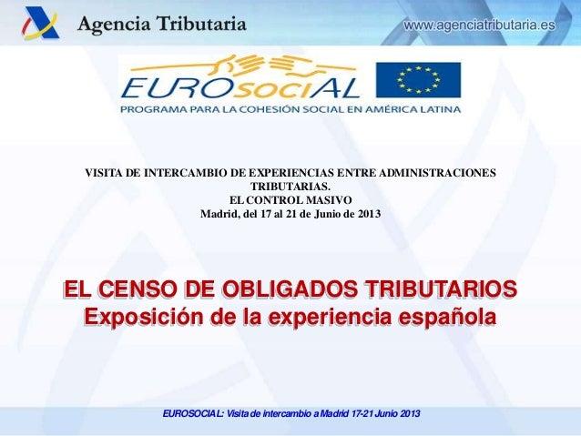 VISITA DE INTERCAMBIO DE EXPERIENCIAS ENTRE ADMINISTRACIONES TRIBUTARIAS. EL CONTROL MASIVO Madrid, del 17 al 21 de Junio ...
