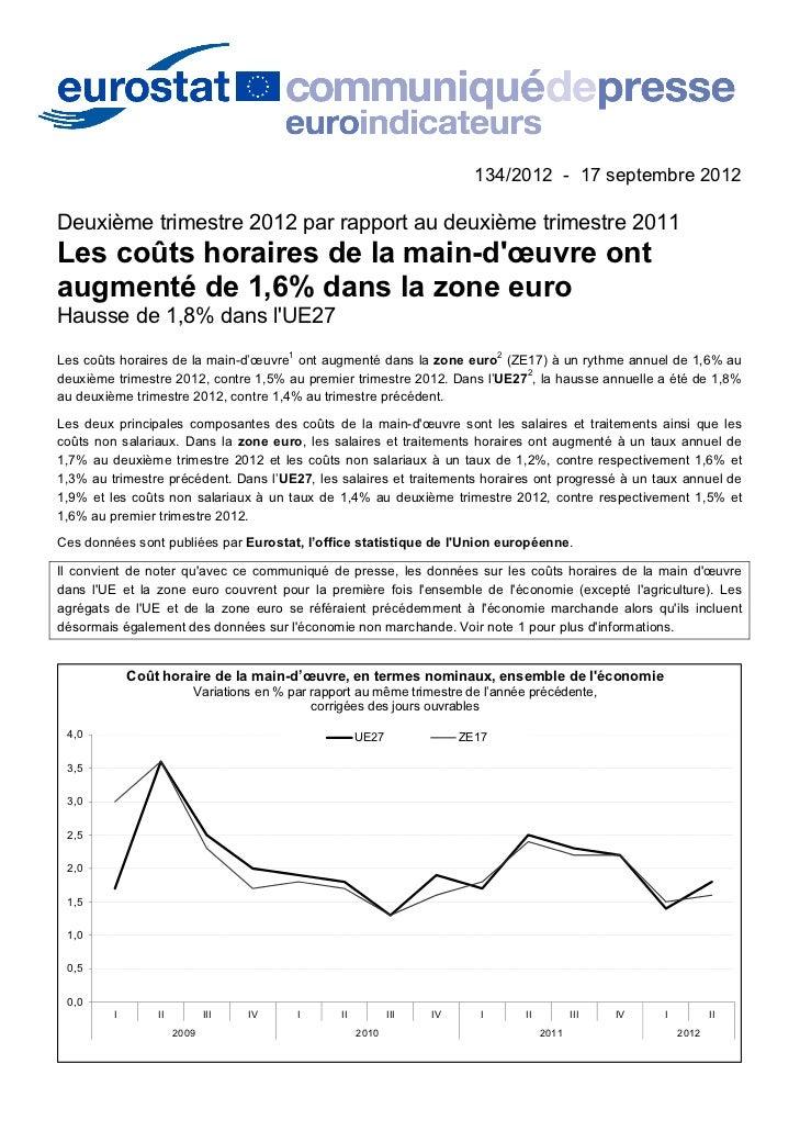 134/2012 - 17 septembre 2012Deuxième trimestre 2012 par rapport au deuxième trimestre 2011Les coûts horaires de la main-dœ...