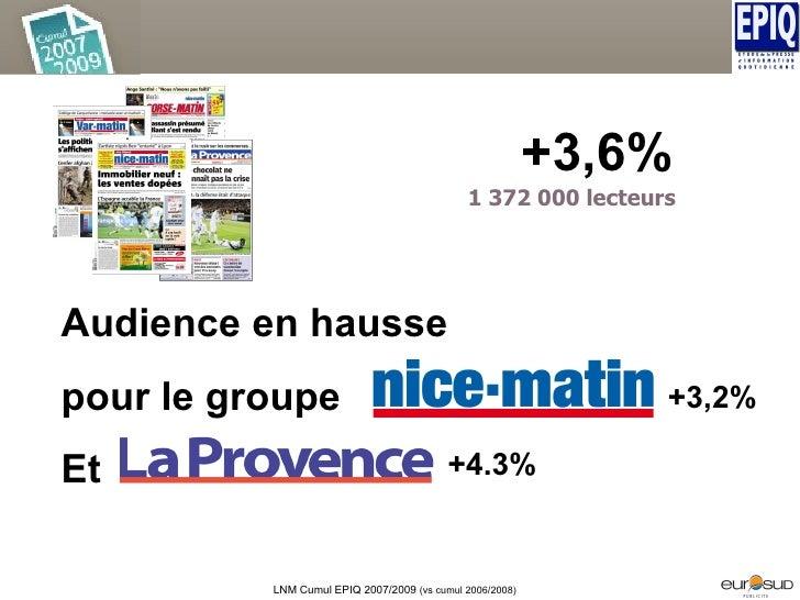 Audience en hausse pour le groupe Et  +3,6% LNM Cumul EPIQ 2007/2009  (vs cumul 2006/2008) 1 372 000 lecteurs +4.3% +3,2%