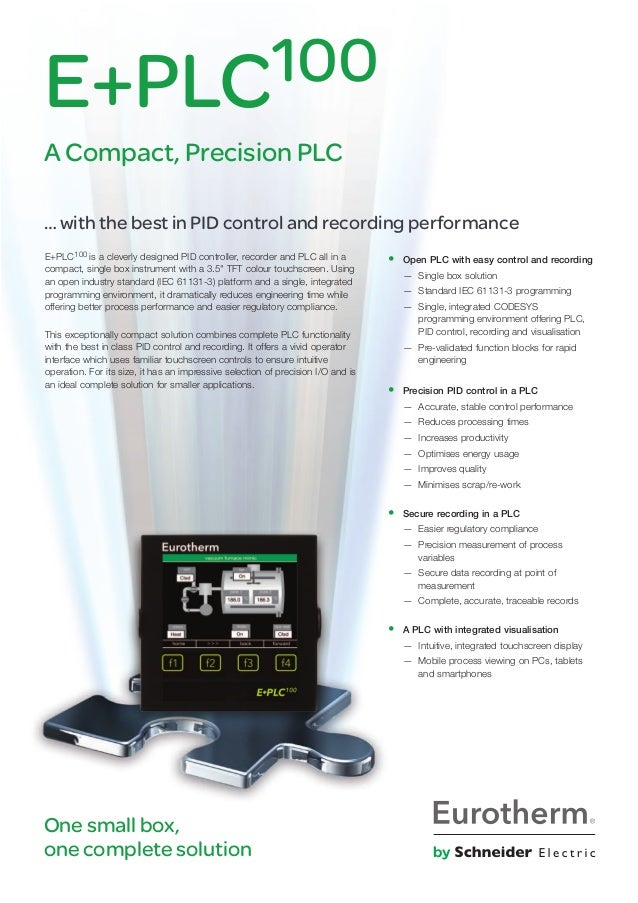 """E+PLC100 is a cleverly designed PId controller, recorder and PLC all in a compact, single box instrument with a 3.5"""" TFT c..."""