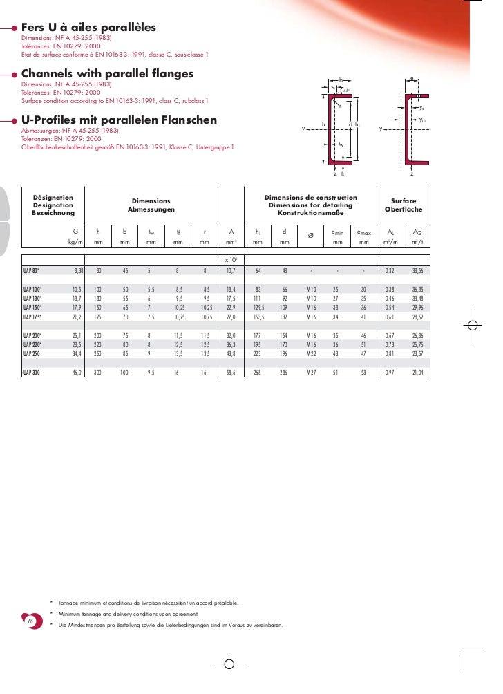 Fers U à ailes parallèlesDimensions: NF A 45-255 (1983)Tolérances: EN 10279: 2000Etat de surface conforme à EN 10163-3: 19...