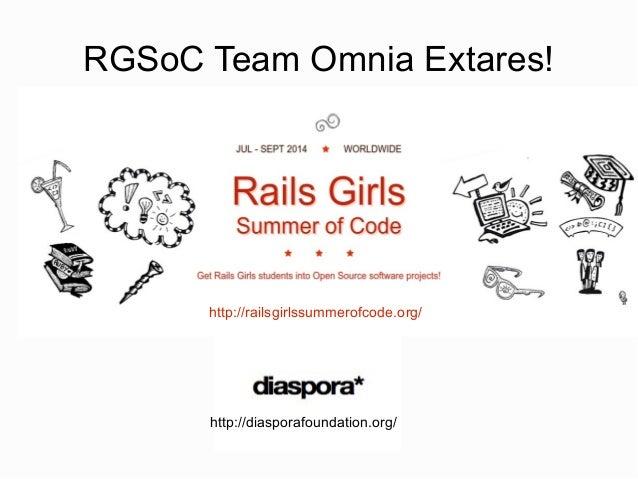 RGSoC Team Omnia Extares! http://railsgirlssummerofcode.org/ http://diasporafoundation.org/