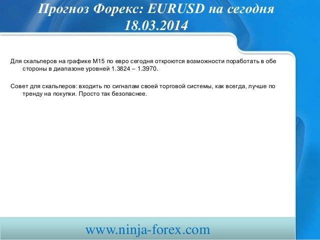 Прогноз Форекс: EURUSD на сегодня 18.03.2014 Для скальперов на графике М15 по евро сегодня откроются возможности поработат...