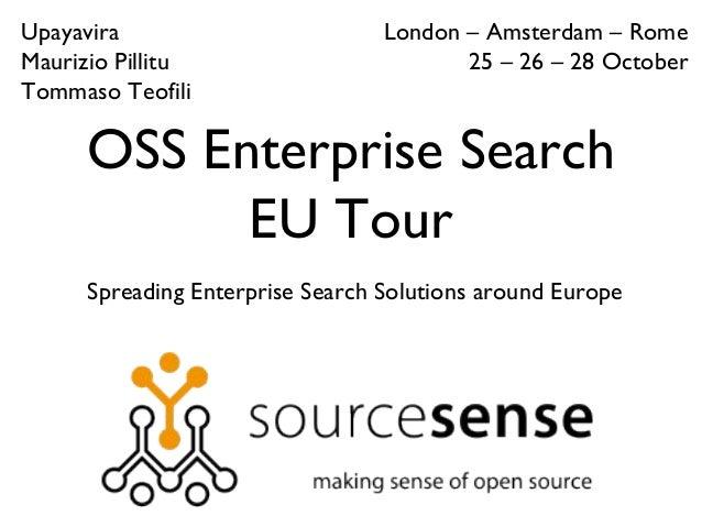 OSS Enterprise Search EU Tour Spreading Enterprise Search Solutions around Europe London – Amsterdam – Rome 25 – 26 – 28 O...