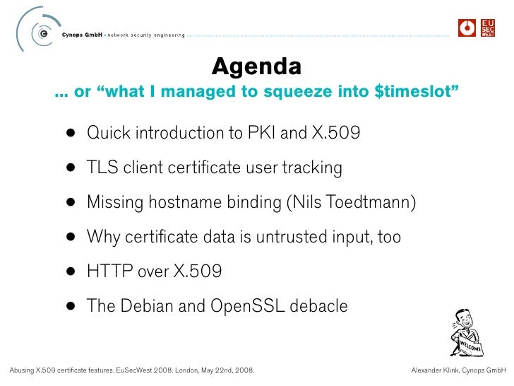EuSecWest 2008 - Abusing X509 Certificate Features