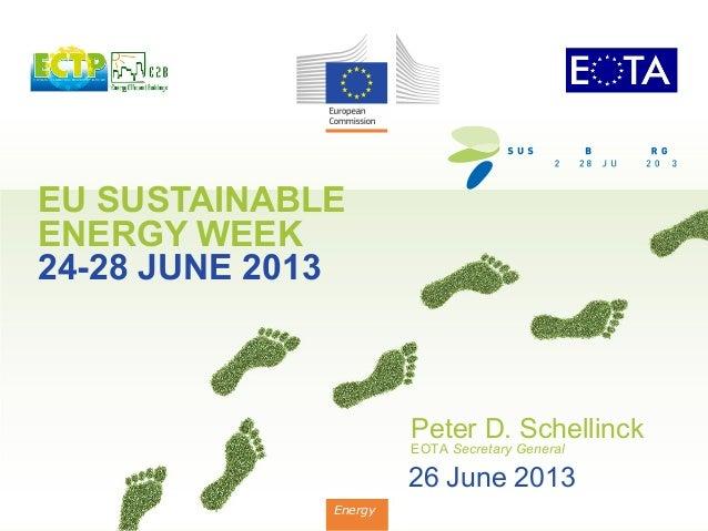 EU SUSTAINABLE ENERGY WEEK 24-28 JUNE 2013 Energy Peter D. Schellinck EOTA Secretary General 26 June 2013