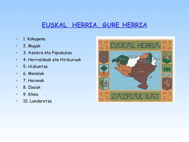 EUSKAL  HERRIA, GURE HERRIA <ul><li>1. Kokapena </li></ul><ul><li>2. Mugak </li></ul><ul><li>3. Azalera eta  P opulazioa <...