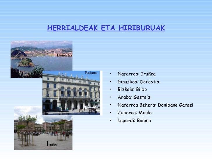 HERRIALDEAK ETA HIRIBURUAK <ul><li>Nafarroa: Iruñea </li></ul><ul><li>Gipuzkoa: Donostia </li></ul><ul><li>Bizkaia: Bilbo ...