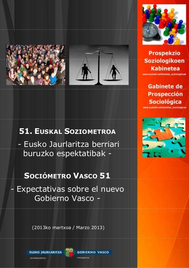 51. EUSKAL SOZIOMETROA - Eusko Jaurlaritza berriari   buruzko espektatibak -   SOCIÓMETRO VASCO 51- Expectativas sobre el ...