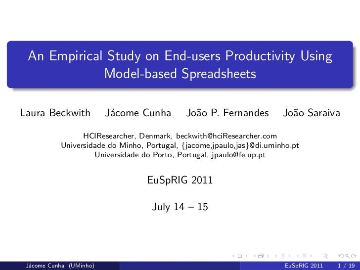 An Empirical Study on End-users Productivity Using             Model-based SpreadsheetsLaura Beckwith           J´come Cun...