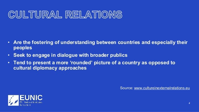 4 • Are the fostering of understanding between countries and especially their peoples • Seek to engage in dialogue with br...