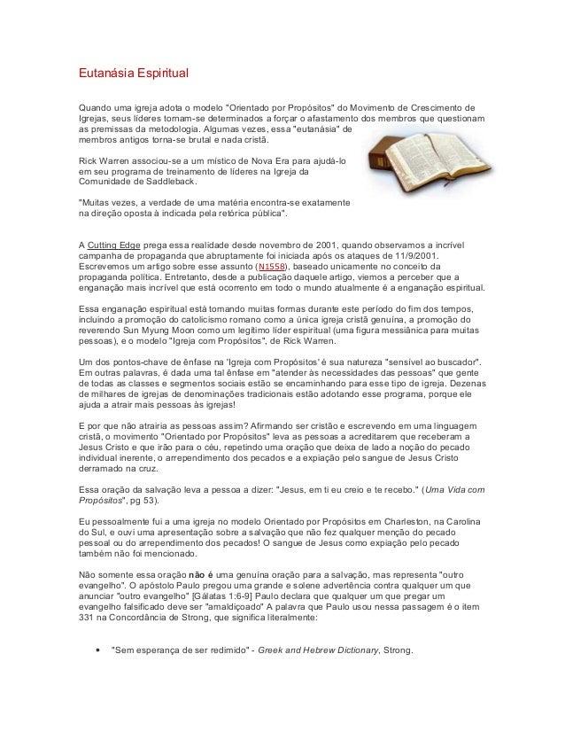 """Eutanásia Espiritual Quando uma igreja adota o modelo """"Orientado por Propósitos"""" do Movimento de Crescimento de Igrejas, s..."""