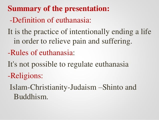 "an overview of euthanasia The late philosopher james rachels published one of the most salient pieces on the euthanasia (e) debate in 1975 the new england journal of medicine titled ""active and passive euthanasia"" here is a brief outline of his argument the distinction between active euthanasia (ae) and passive (pe) is thought crucial."