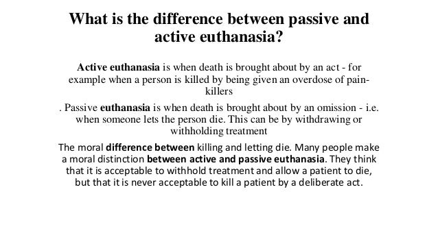 the moral acceptability of passive euthanasia Keywords: death, passive euthanasia, physician‐assisted dying, psychiatric‐assisted suicide, psychiatry suggested citation: suggested citation varelius, jukka, on the moral acceptability of physician‐assisted dying for non‐autonomous psychiatric patients (may 2016).