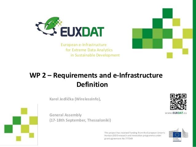 WP 2 – Requirements and e-Infrastructure Definition General Assembly (17-18th September, Thessaloniki) Karel Jedlička (Wir...