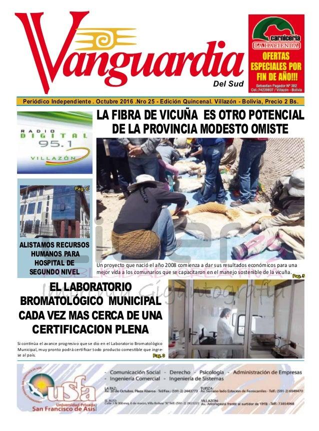 Del Sud Periódico Independiente . Octubre 2016 .Nro 25 - Edición Quincenal. Villazón - Bolivia, Precio 2 Bs. EL LABORATORI...