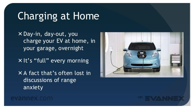 """Charging at Home Day-in, day-out, you charge your EV at home, in your garage, overnight It's """"full"""" every morning A fac..."""