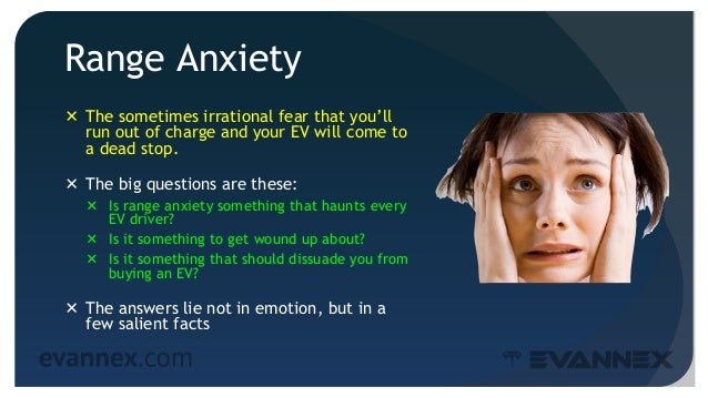 Range Anxiety  The sometimes irrational fear that you'll run out of charge and your EV will come to a dead stop.  The bi...