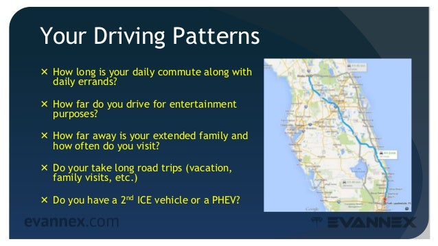 Your Driving Patterns  How long is your daily commute along with daily errands?  How far do you drive for entertainment ...