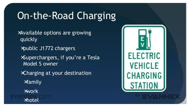 On-the-Road Charging Available options are growing quickly public J1772 chargers Superchargers, if you're a Tesla Model...