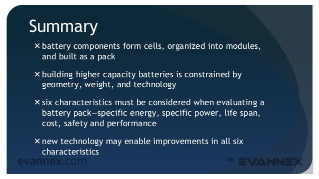 Summary battery components form cells, organized into modules, and built as a pack building higher capacity batteries is...