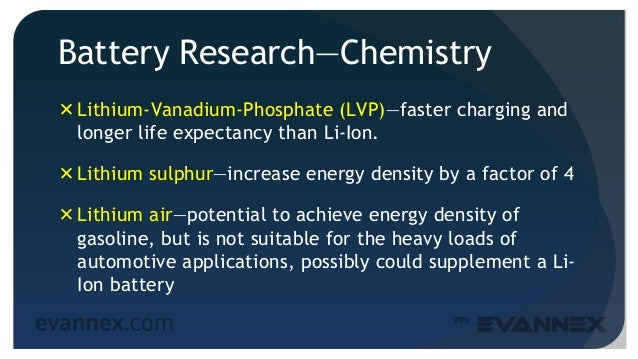 Battery Research—Chemistry Lithium-Vanadium-Phosphate (LVP)—faster charging and longer life expectancy than Li-Ion. Lith...