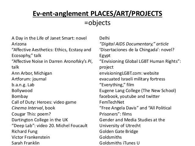 """Ev-ent-anglement PLACES/ART/PROJECTS =objects A Day in the Life of Janet Smart: novel Arizona """"Affective Aesthetics: Ethic..."""