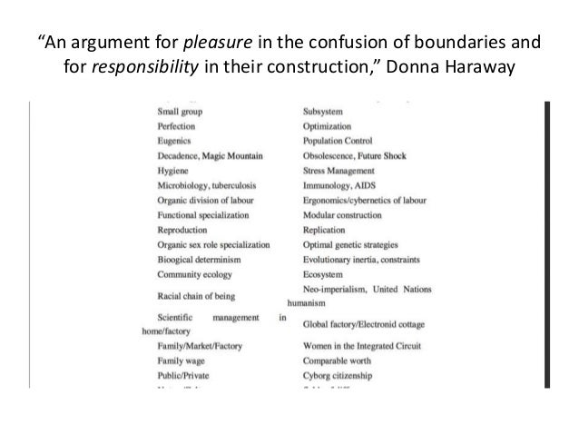 """""""An argument for pleasure in the confusion of boundaries and  for responsibility in their construction,"""" Donna Haraway"""