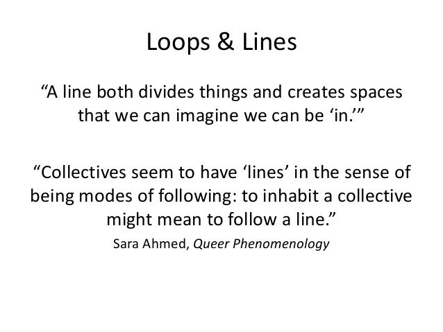 """Loops & Lines  """"A line both divides things and creates spaces  that we can imagine we can be 'in.'""""  """"Collectives seem to ..."""