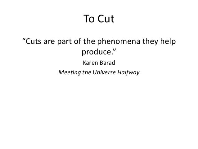 """To Cut  """"Cuts are part of the phenomena they help  produce.""""  Karen Barad  Meeting the Universe Halfway"""