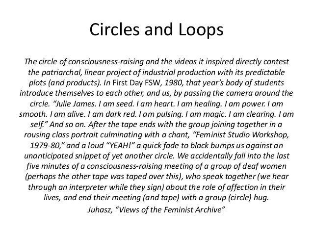 Circles and Loops  The circle of consciousness-raising and the videos it inspired directly contest  the patriarchal, linea...