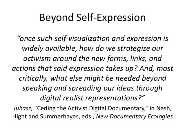 """Beyond Self-Expression  """"once such self-visualization and expression is  widely available, how do we strategize our  activ..."""