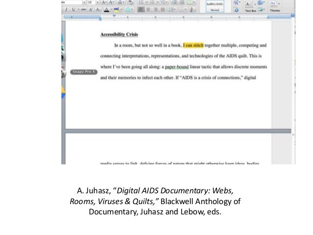 """A. Juhasz, """"Digital AIDS Documentary: Webs,  Rooms, Viruses & Quilts,"""" Blackwell Anthology of  Documentary, Juhasz and Leb..."""