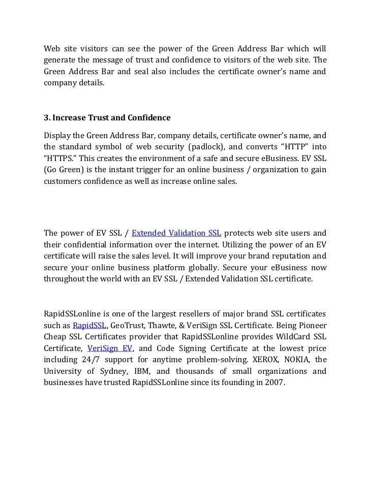 How Authentication Of Ev Ssl Or Extended Validation Works Rapidsslon