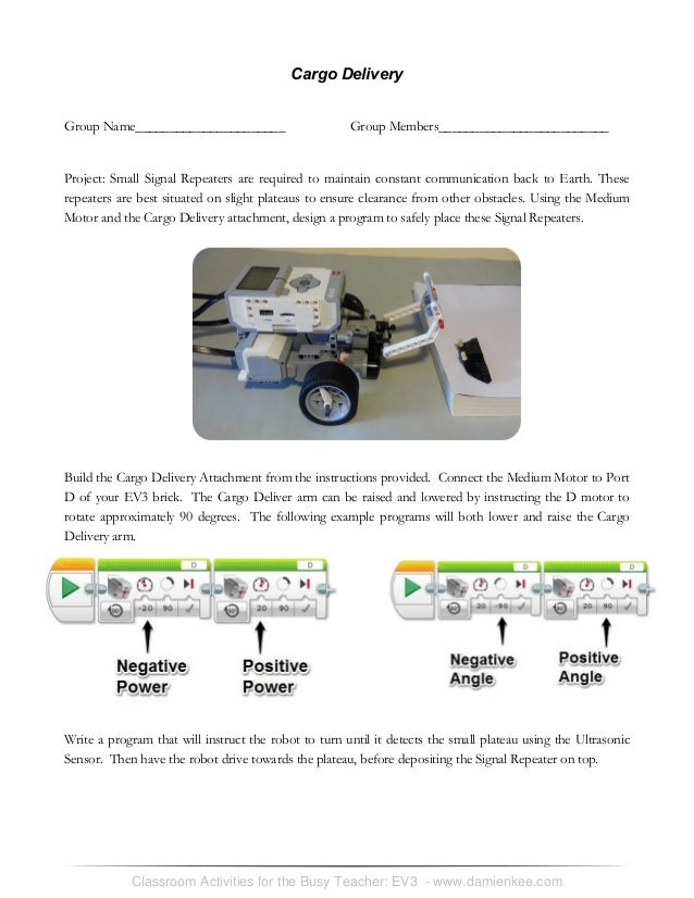 Ev3 student worksheets for Ev3 medium motor arm