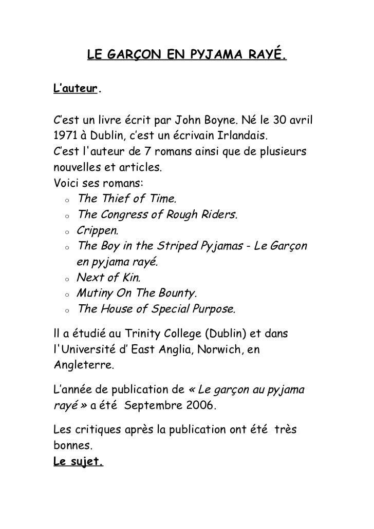 LE GARÇON EN PYJAMA RAYÉ.L'auteur.C'est un livre écrit par John Boyne. Né le 30 avril1971 à Dublin, c'est un écrivain Irla...